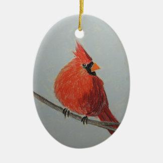 パステルのオーナメントの枝の赤い(鳥)ショウジョウコウカンチョウ セラミックオーナメント