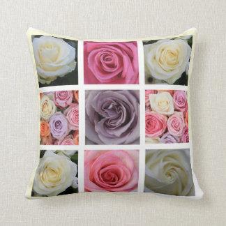 パステルのバラの正方形のコラージュの枕 クッション