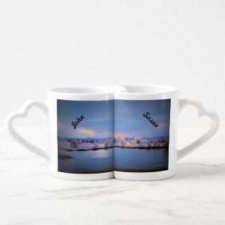 パステルの恋人のマグ、氷った池およびヤナギ ペアカップ