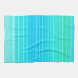 パステルの抽象的な青緑の緑のストライプ キッチンタオル