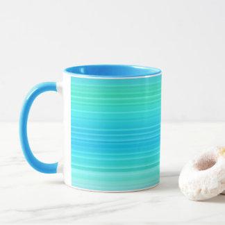 パステルの抽象的な青緑の緑のストライプ マグカップ