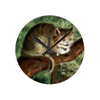パステルの柱時計のチェシャー猫 ラウンド壁時計