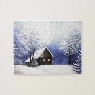 パステルの雪の小屋の冬の景色 ジグソーパズル