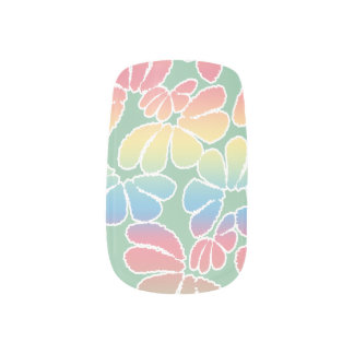 パステルカラーのお洒落なイカットの花の落書きパターン ネイルアート