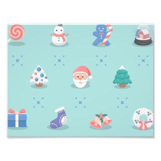 パステルカラーのクリスマスのキャラクターの継ぎ目が無いパターン フォトプリント