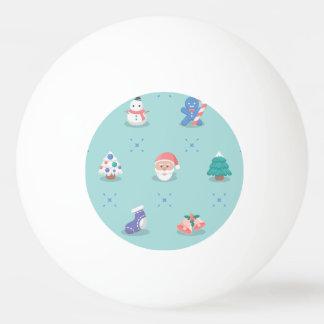パステルカラーのクリスマスのキャラクターの継ぎ目が無いパターン 卓球ボール