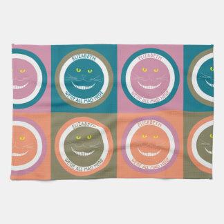 パステルカラーのチェシャーエレガントで粋な微笑猫 キッチンタオル
