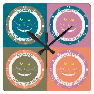 パステルカラーのチェシャー粋でエレガントな微笑猫 スクエア壁時計