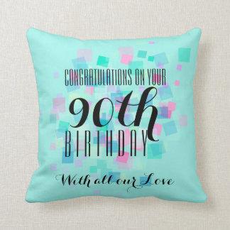 パステルカラーの第90誕生日のカスタムな枕3 クッション