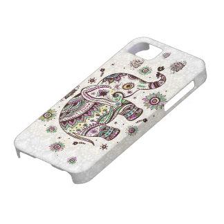 パステルカラーレトロの花及び象 iPhone SE/5/5s ケース