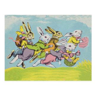 パステル調のウサギを走るイースター ポストカード