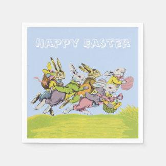 パステル調のウサギを走るハッピーイースター スタンダードカクテルナプキン
