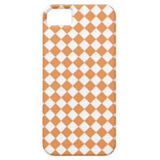 パステル調のオレンジおよび白いダイヤモンドの点検パターン iPhone SE/5/5s ケース