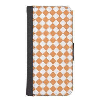 パステル調のオレンジダイヤモンドのチェッカーボードパターン iPhoneSE/5/5sウォレットケース