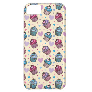 パステル調のカップケーキのハートパターン iPhone5Cケース