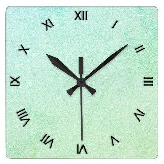 パステル調のグラデーションなグリッターの一見 スクエア壁時計