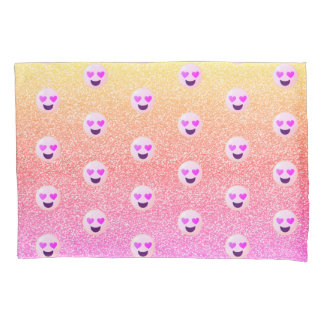 パステル調のグラデーションな輝きのハートはEmojiの枕カバーを注目しました 枕カバー