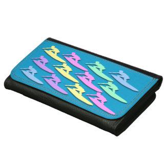 パステル調のサーファーパターン大きいLeatheretteの財布