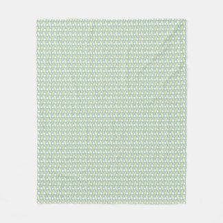 パステル調のタツノオトシゴの織り方の黄色緑パターン フリースブランケット