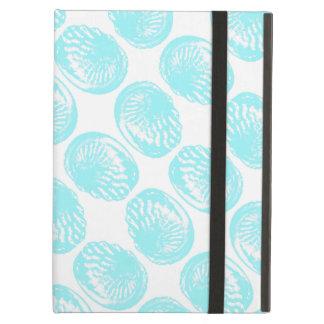 パステル調のターコイズの貝のパターン iPad AIRケース