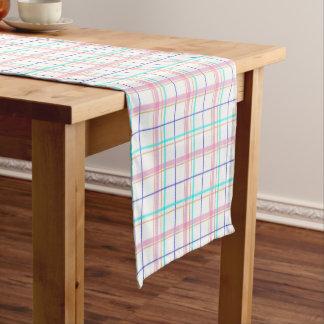 パステル調のタータンチェック格子縞パターンデザイン ショートテーブルランナー