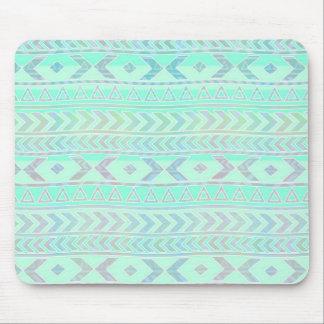 パステル調のティール(緑がかった色)のアステカな芸術のスタイルパターン マウスパッド