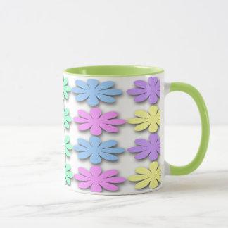 パステル調のデイジーパターンコーヒー・マグ マグカップ