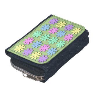 パステル調のデイジーパターンデニムの硬貨の財布の財布