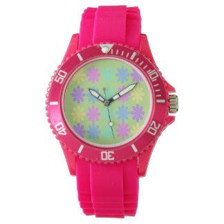 パステル調のデイジーパターン腕時計 腕時計