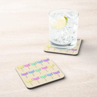 パステル調のトンボパターン飲み物のコースターセット コースター