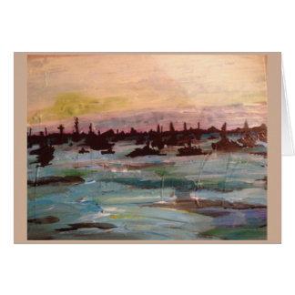 パステル調のボートの絵画の挨拶状 カード