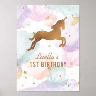 パステル調のユニコーンの誕生会の印 ポスター