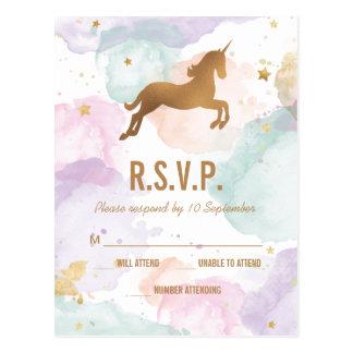 パステル調のユニコーンの誕生会RSVP ポストカード