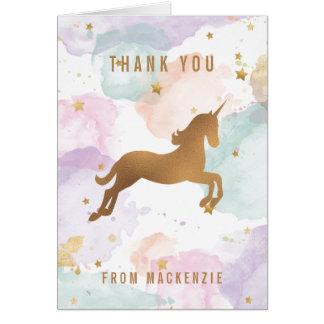 パステル調のユニコーンは感謝していしています カード