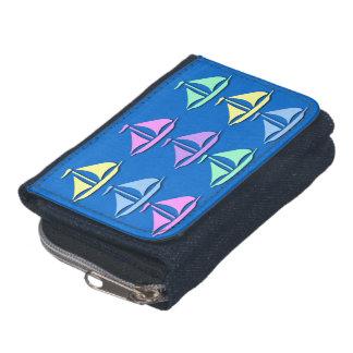 パステル調のヨットパターンデニムの硬貨の財布の財布