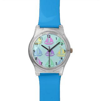パステル調のヨットパターン腕時計 リストウオッチ