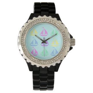 パステル調のヨットパターン腕時計 腕時計