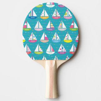 パステル調のヨットパターン 卓球ラケット