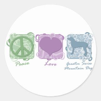 パステル調の平和、愛およびより素晴らしいスイス山犬 ラウンドシール
