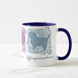 パステル調の平和、愛およびアーフェンピンシャー マグカップ