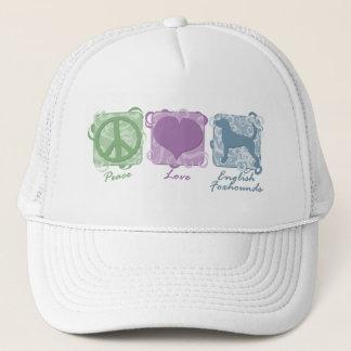 パステル調の平和、愛およびイングリッシュ・フォックスハウンド キャップ