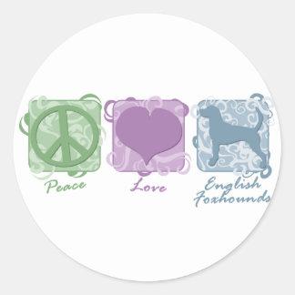 パステル調の平和、愛およびイングリッシュ・フォックスハウンド ラウンドシール