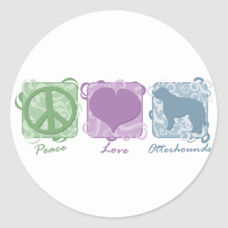 パステル調の平和、愛およびカワウソ猟犬 ラウンドシール