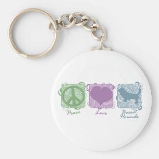 パステル調の平和、愛およびバセットハウンド キーホルダー