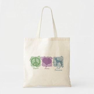 パステル調の平和、愛およびラットテリア トートバッグ