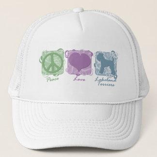 パステル調の平和、愛およびレークランドテリア キャップ