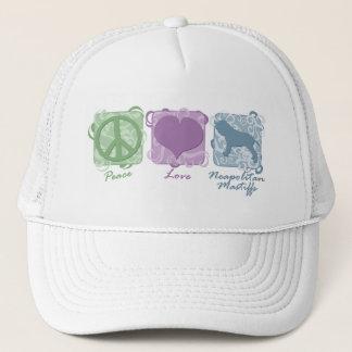 パステル調の平和、愛およびNeapolitanマスティフ キャップ