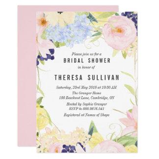 パステル調の春の花のブライダルシャワーの招待状 カード
