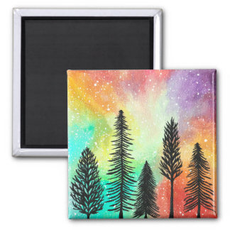 パステル調の松の木の銀河系の磁石、芸術の絵画 マグネット
