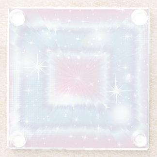 パステル調の正方形 ガラスコースター